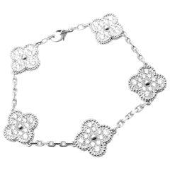 Van Cleef & Arpels Vintage Diamond Alhambra White Gold Bracelet