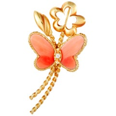 Van Cleef & Arpels Vintage Diamond and Coral Yellow Gold Butterfly Brooch