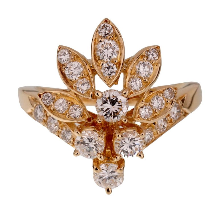 Women's Van Cleef & Arpels Vintage Diamond Cocktail Gold Ring For Sale