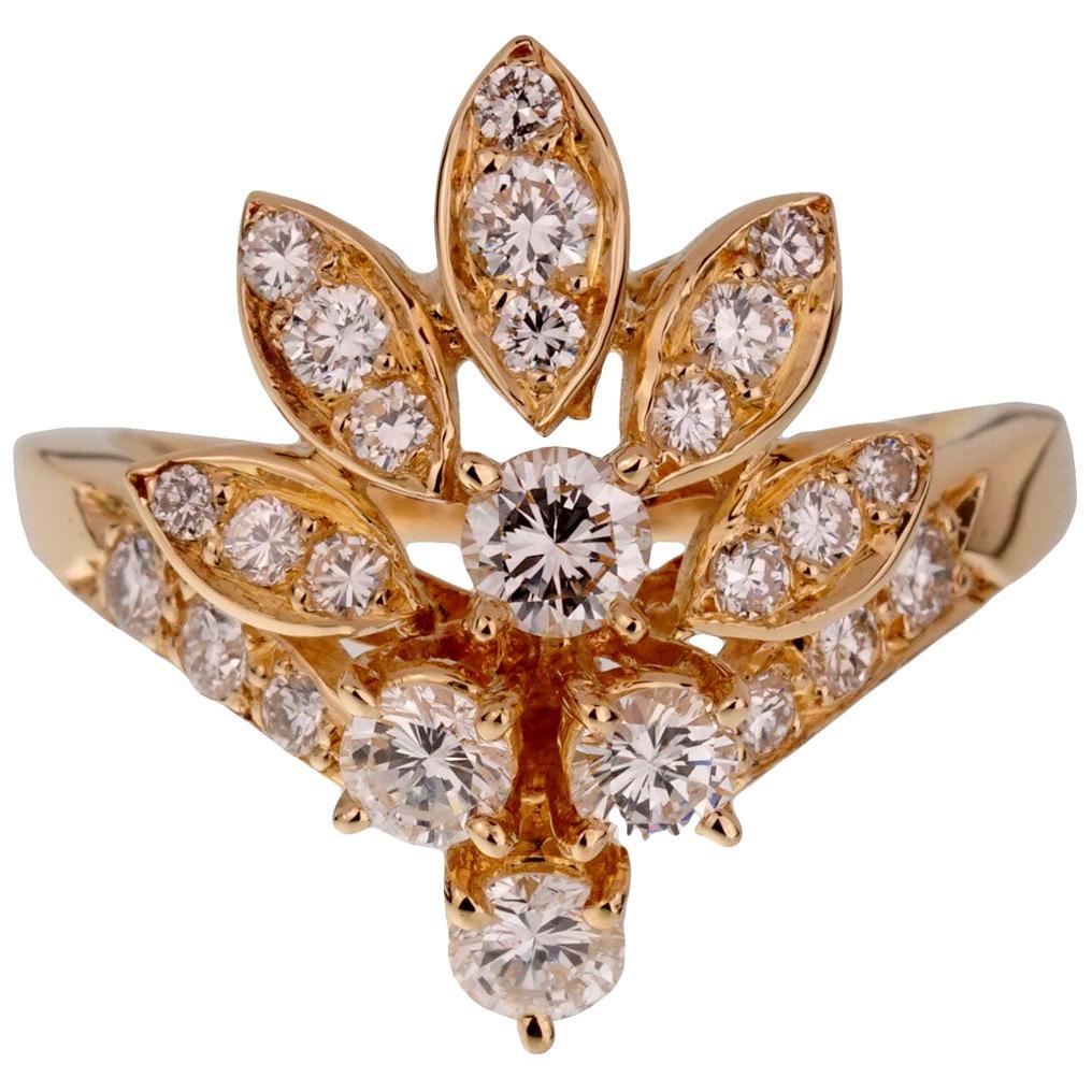 Van Cleef & Arpels Vintage Diamond Cocktail Gold Ring
