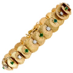 Van Cleef & Arpels Vintage Diamond Emerald 18 Karat VCA Gold Bracelet