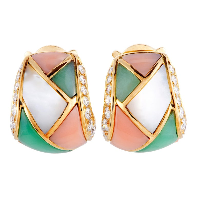 Van Cleef & Arpels Vintage Diamond, Mother of Pearl, Coral & Chrysoprase Earring For Sale