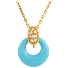 Van Cleef & Arpels Vintage Diamond Pave Turquoise Yellow Gold Pendant Necklace