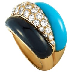 Van Cleef & Arpels Vintage Diamond, Turquoise and Onyx Yellow Gold Ring