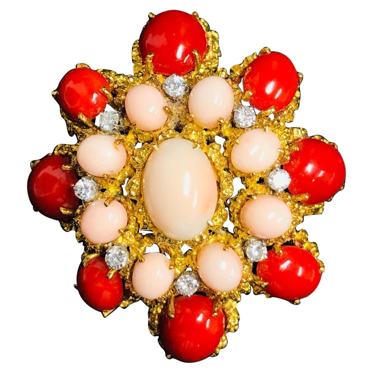 Van Cleef & Arpels Vintage French 1960 Coral and Diamond Clip Brooch