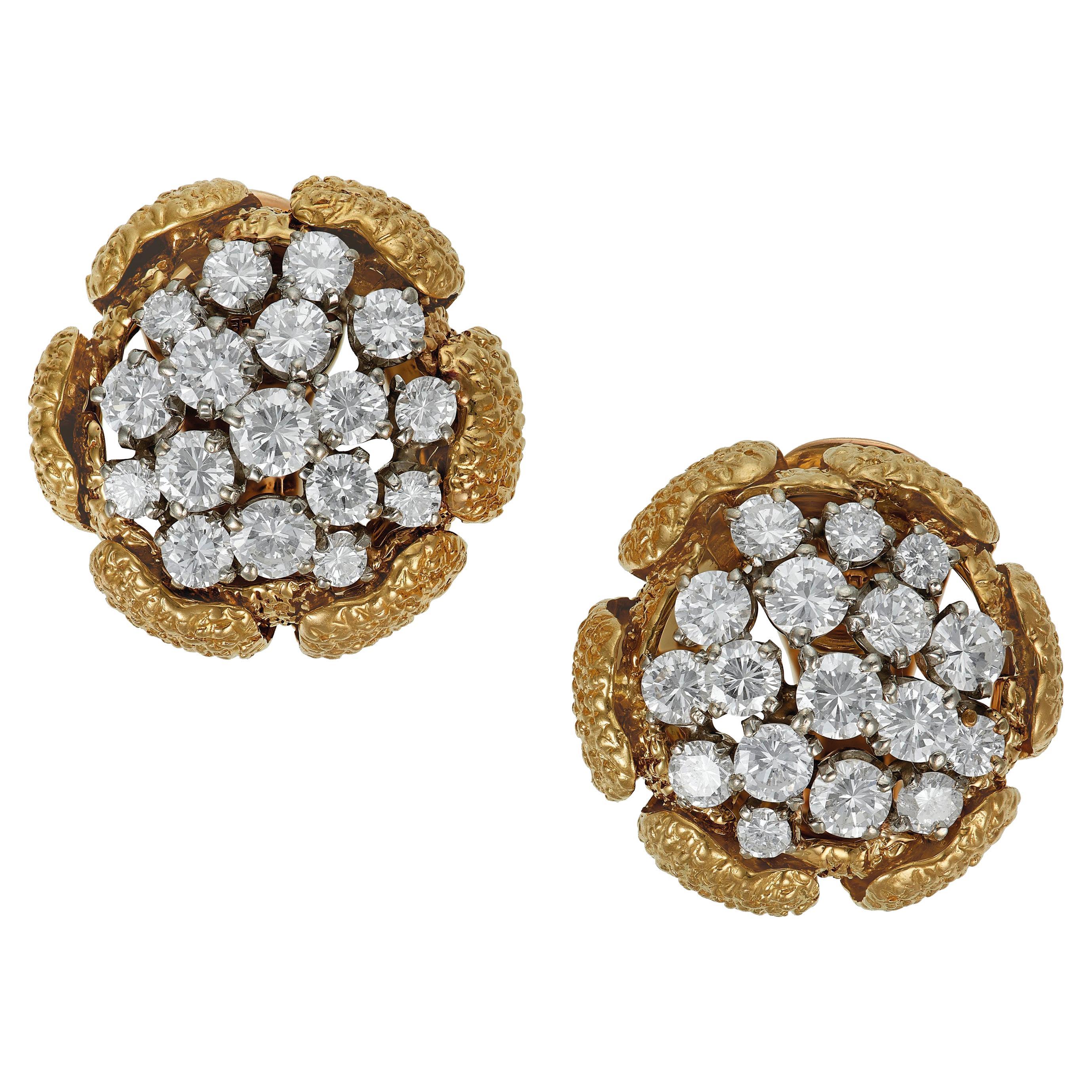 Van Cleef & Arpels Vintage Gold and Diamond Earrings