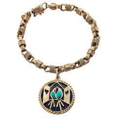 Van Cleef & Arpels Vintage Gold Lapis Turquoise Love Birds Charm Bracelet