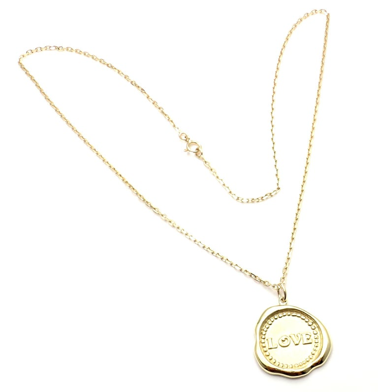 Van Cleef & Arpels Vintage Love Yellow Gold Pendant Necklace In New Condition In Holland, PA