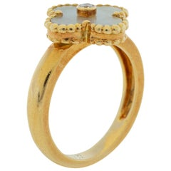 Van Cleef & Arpels Vintage Mother of Pearl Diamond 18K Yellow Gold Ring Size 58
