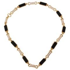 Van Cleef & Arpels Vintage Onyx Diamond Choker Gold Necklace