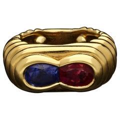 Van Cleef & Arpels, Vintage Ruby & Sapphire Dress Ring, circa 1960s