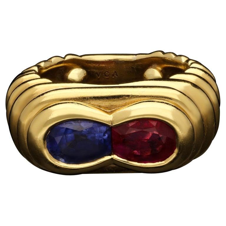 Van Cleef & Arpels, Vintage Ruby & Sapphire Dress Ring, circa 1960s For Sale