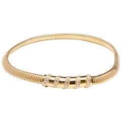 Van Cleef & Arpels Vintage Tubogas Necklace with Diamond Slider