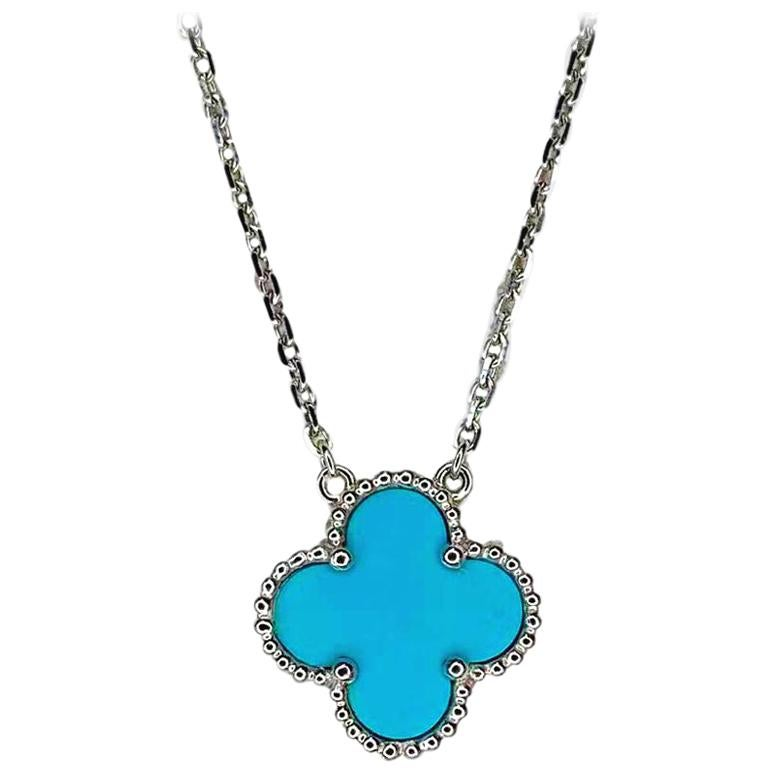 Van Cleef & Arpels Vintage Turquoise Alhambra Pendant Necklace in 18k White Gold