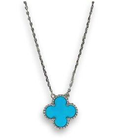VAN CLEEF & ARPELS Vintage Turquoise Alhambra Pendant Necklace In 18K White Gold
