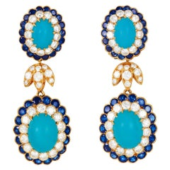 Van Cleef & Arpels Vintage Turquoise Sapphire Diamond Ear Clips