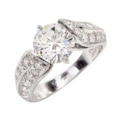Van Cleef & Arpels Vintage VCA 3.12 Carat Diamond Platinum Engagement Ring