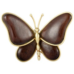Van Cleef & Arpels Vintage Yellow Gold Wooden Butterfly Brooch