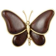Van Cleef & Arpels Vintage Yellow Gold Wooden Butterfly Brooch