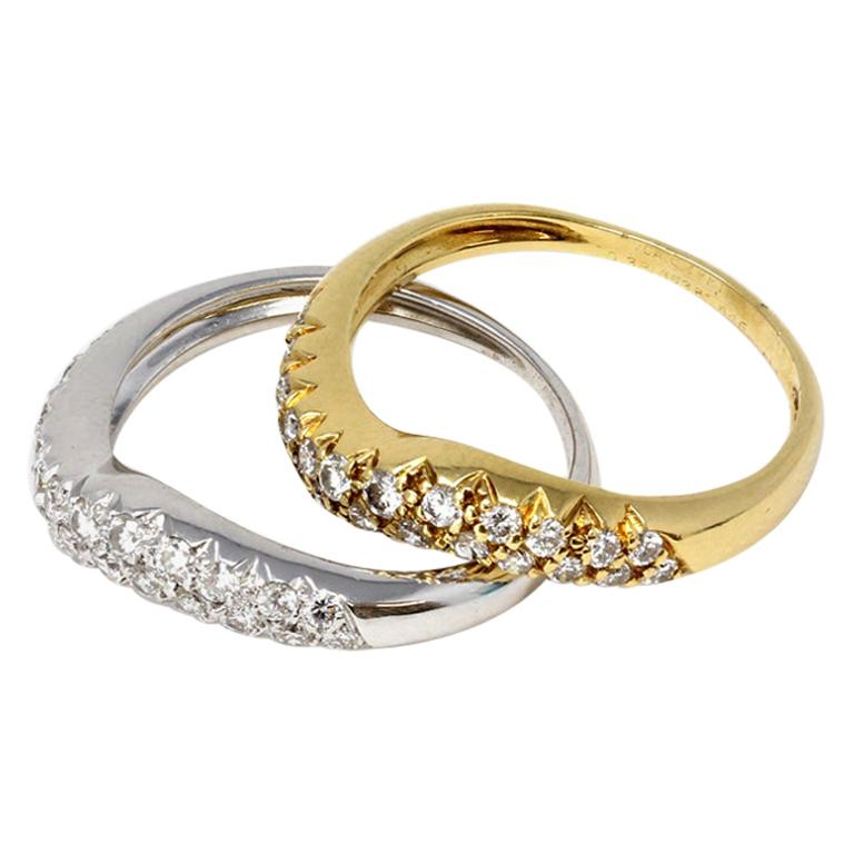 Van Cleef & Arpels White and Yellow 18 Karat Gold Diamond Wave Band Rings For Sale