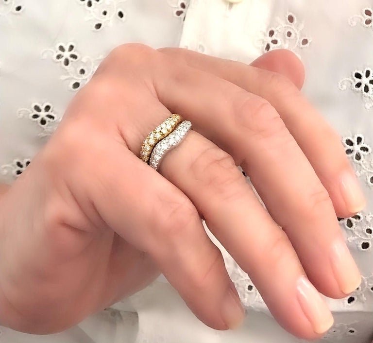 Modern Van Cleef & Arpels White and Yellow 18 Karat Gold Diamond Wave Band Rings For Sale