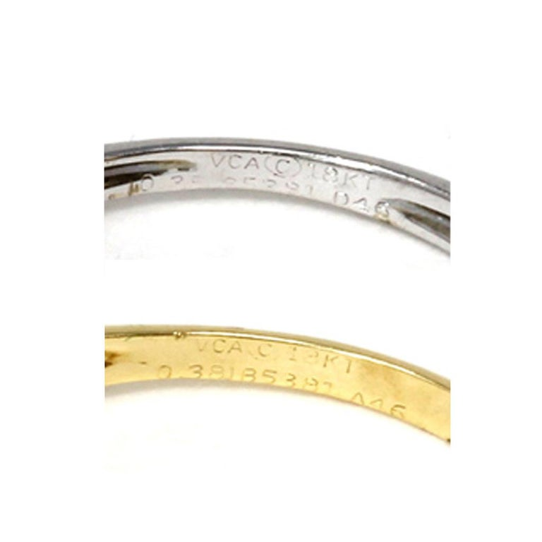 Round Cut Van Cleef & Arpels White and Yellow 18 Karat Gold Diamond Wave Band Rings For Sale