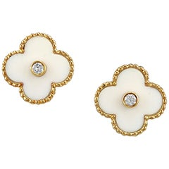 Van Cleef & Arpels White Coral and Diamond Alhambra Earrings