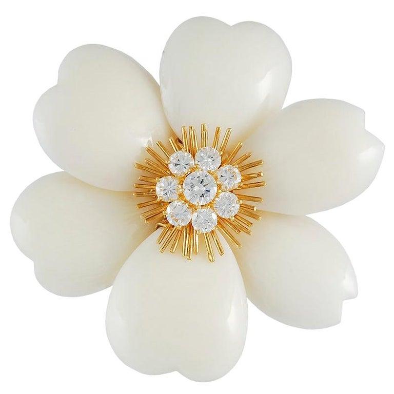 Van Cleef & Arpels White Coral French Rose de Noel Brooch For Sale