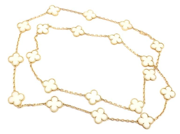 Van Cleef & Arpels White Coral Gold 20 Motif Vintage Alhambra Necklace For Sale 2