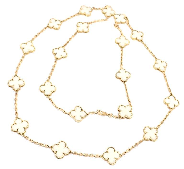 Van Cleef & Arpels White Coral Gold 20 Motif Vintage Alhambra Necklace For Sale 3