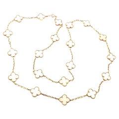 Van Cleef & Arpels White Coral Gold 20 Motif Vintage Alhambra Necklace