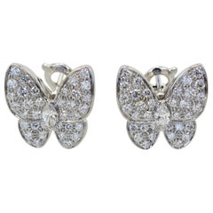 Van Cleef & Arpels White Diamond Butterfly Earrings 18 Karat White Gold