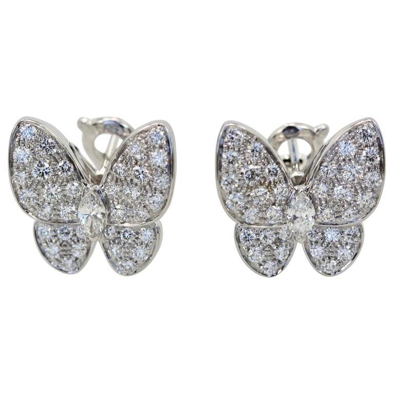 Van Cleef & Arpels White Diamond Butterfly Earrings 18 Karat White Gold For Sale