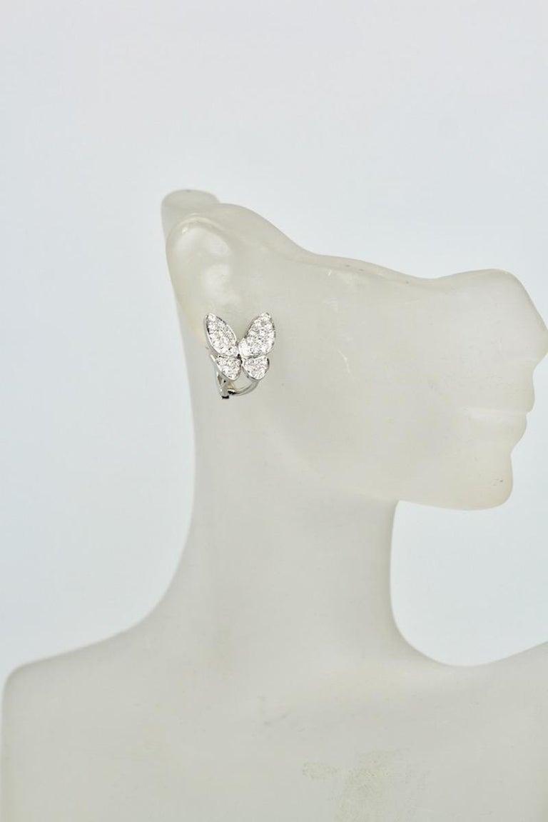 Women's Van Cleef & Arpels White Diamond Butterfly Earrings 18 Karat White Gold For Sale