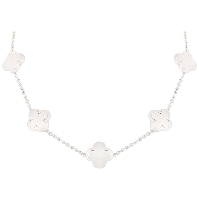 Van Cleef & Arpels White Gold Alhambra Necklace For Sale
