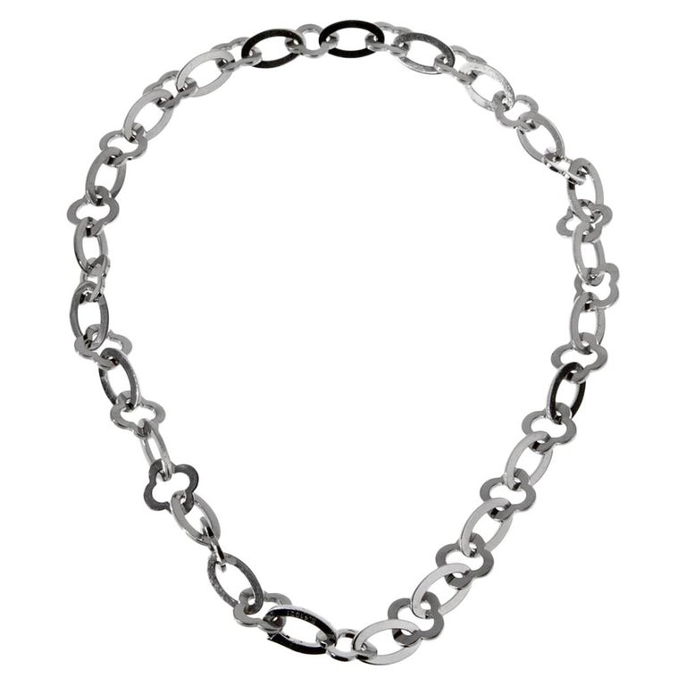 Van Cleef & Arpels White Gold Byzantine Necklace For Sale