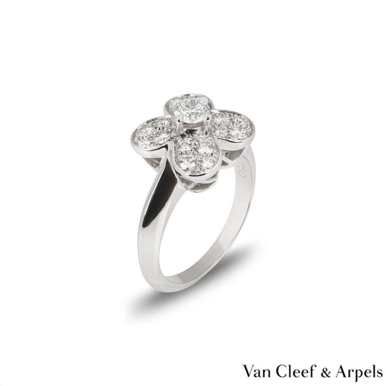 Round Cut Van Cleef & Arpels White Gold Diamond Alhambra Ring For Sale