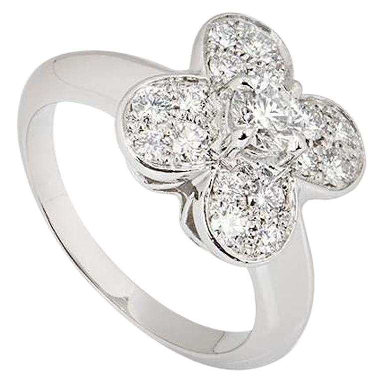 Van Cleef & Arpels White Gold Diamond Alhambra Ring For Sale