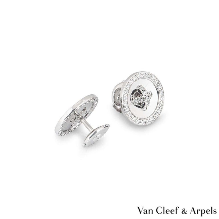 Van Cleef & Arpels White Gold Diamond Button Earrings In Excellent Condition For Sale In London, GB