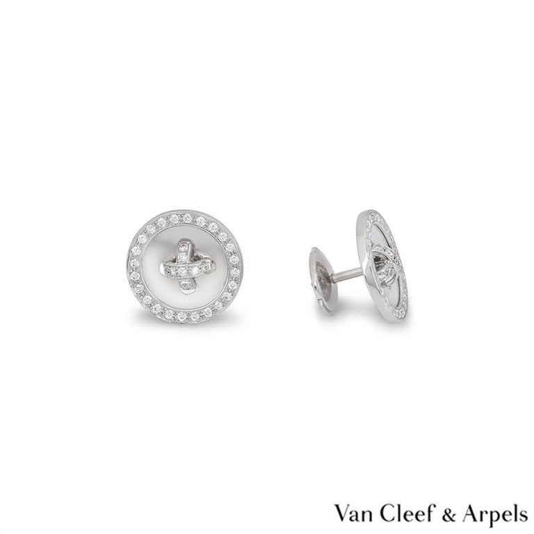 Women's Van Cleef & Arpels White Gold Diamond Button Earrings For Sale
