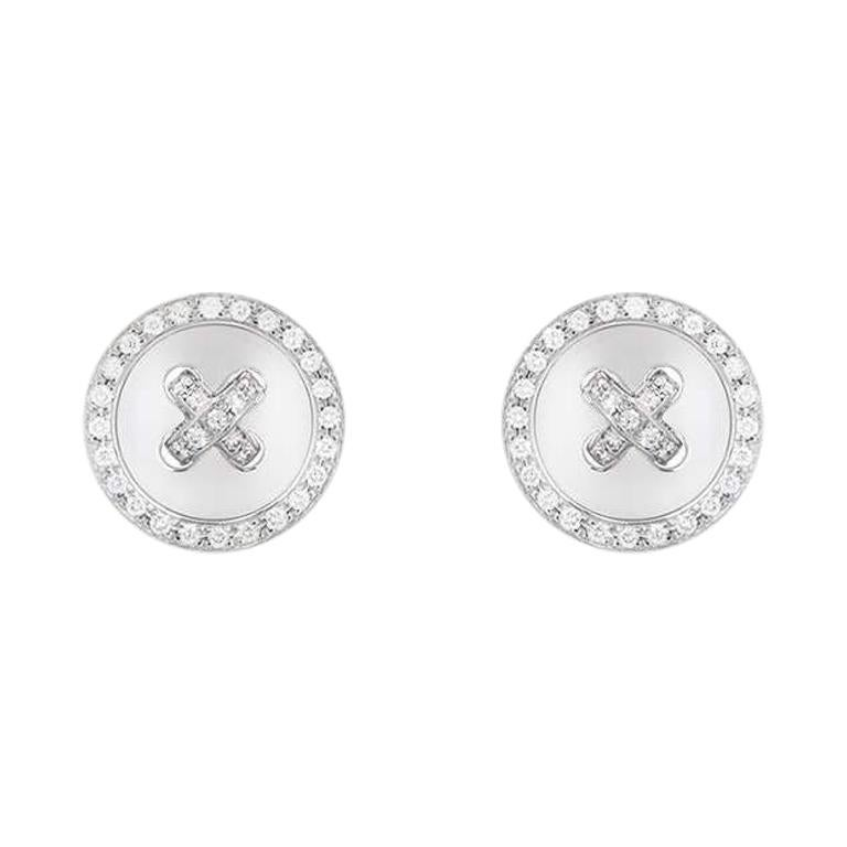 Van Cleef & Arpels White Gold Diamond Button Earrings For Sale