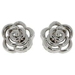 Van Cleef & Arpels White Gold Flower Stud Earrings