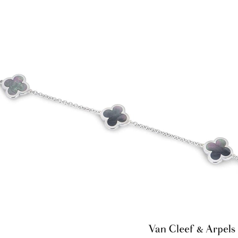 Women's or Men's Van Cleef & Arpels White Gold Pure Alhambra Necklace For Sale