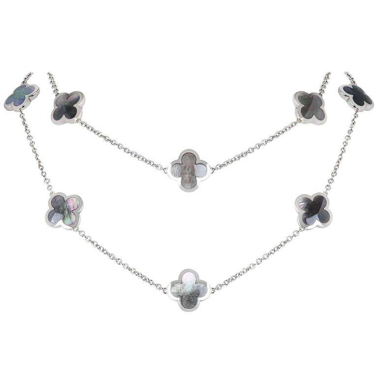 Van Cleef & Arpels White Gold Pure Alhambra Necklace For Sale
