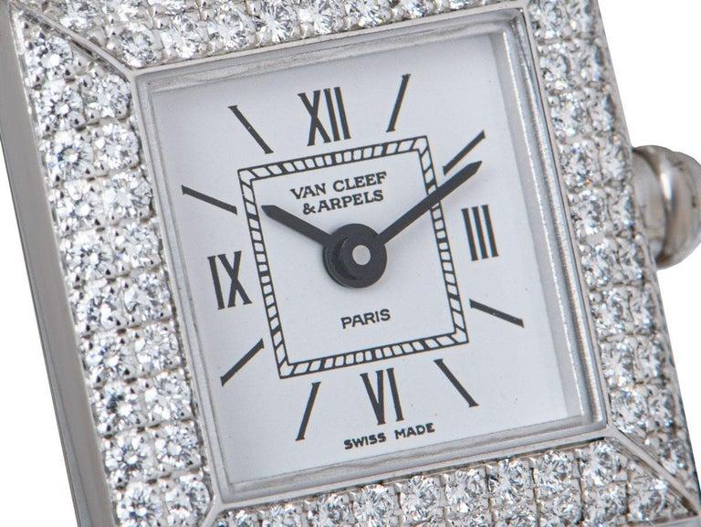 Round Cut Van Cleef & Arpels White Gold Silver Dial Diamond Set Dress Watch For Sale