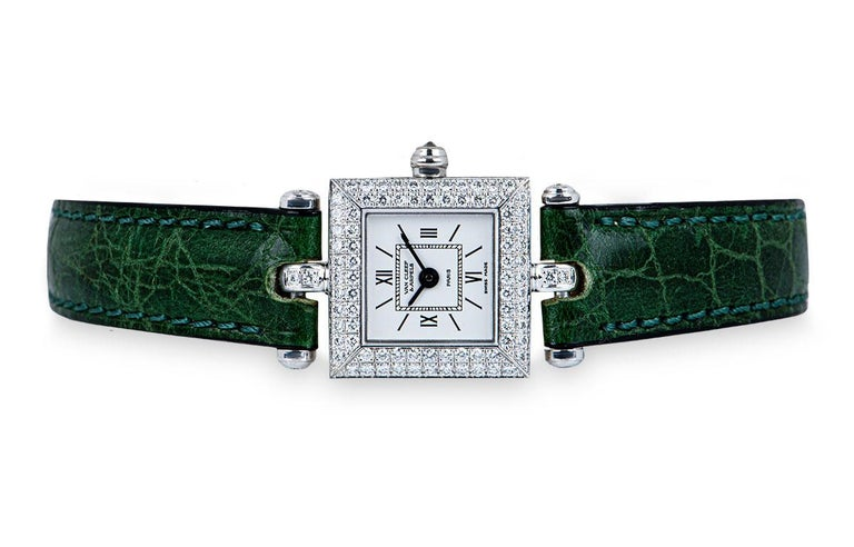 Van Cleef & Arpels White Gold Silver Dial Diamond Set Dress Watch In Excellent Condition For Sale In London, GB