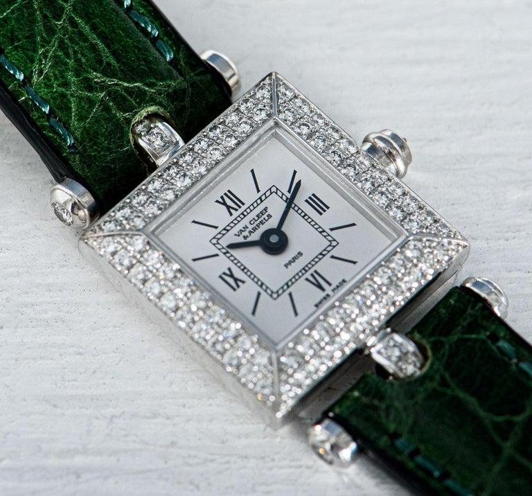 Women's Van Cleef & Arpels White Gold Silver Dial Diamond Set Dress Watch For Sale
