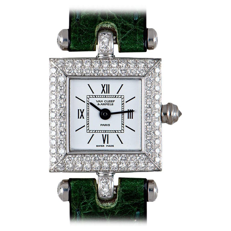 Van Cleef & Arpels White Gold Silver Dial Diamond Set Dress Watch For Sale