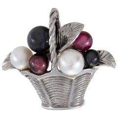 Van Cleef & Arpels Womens 18 Karat Gold Pearl Tourmaline and Onyx Basket Pin