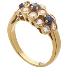 Van Cleef & Arpels Women's 18 Karat Yellow Gold Diamond Sapphire Flowers Ring
